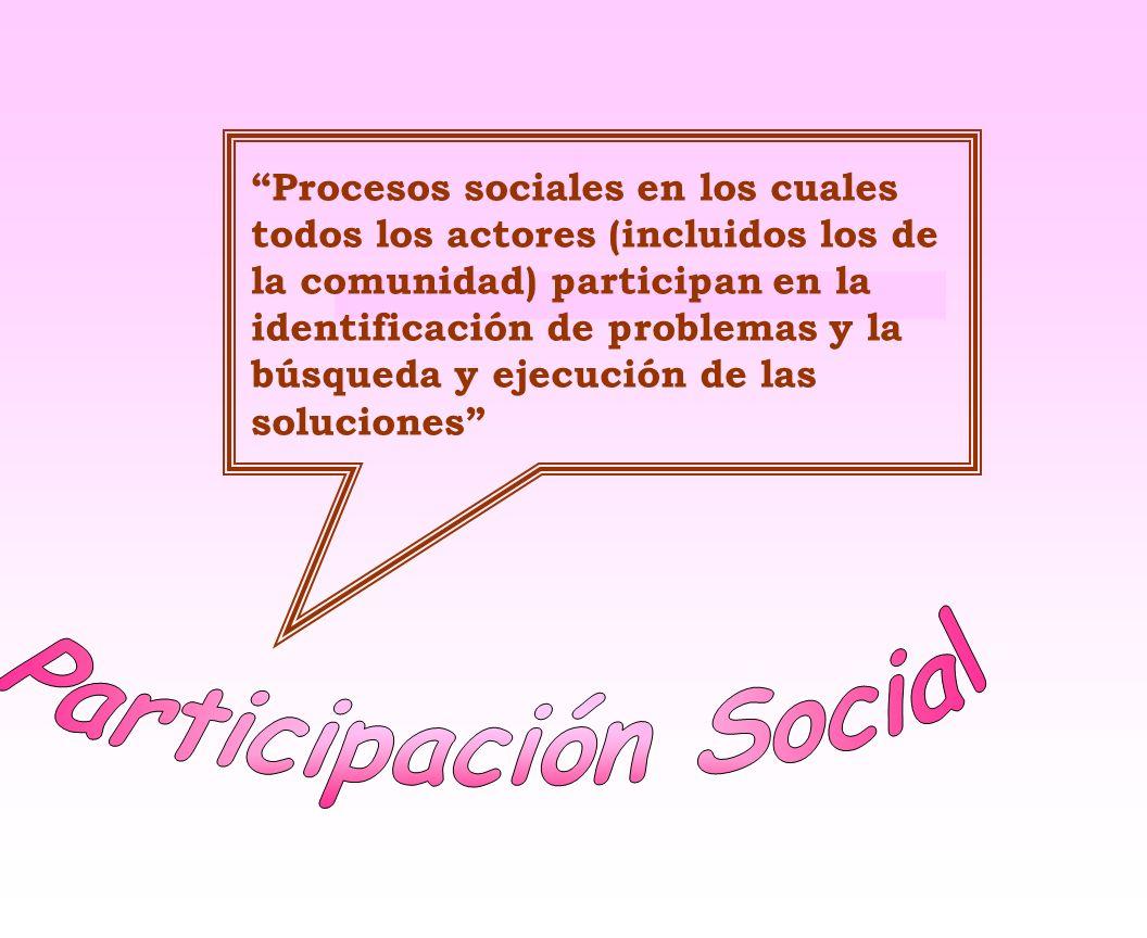 Procesos sociales en los cuales todos los actores (incluidos los de la comunidad) participan en la identificación de problemas y la búsqueda y ejecución de las soluciones