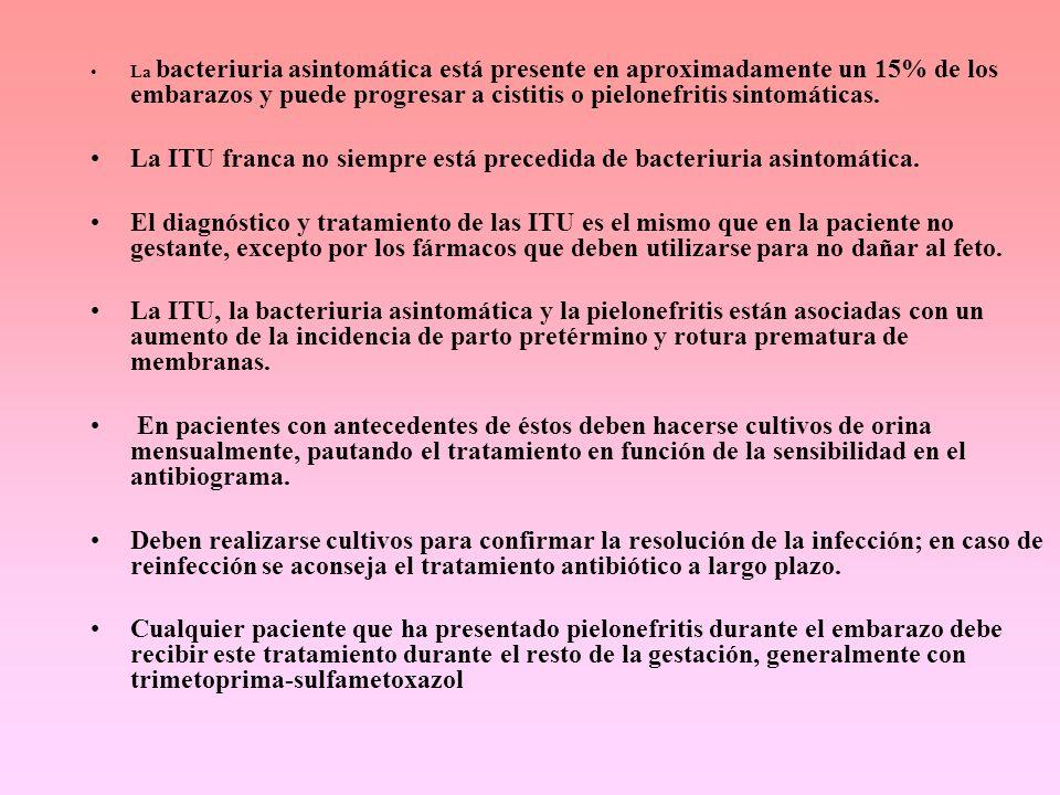 La ITU franca no siempre está precedida de bacteriuria asintomática.