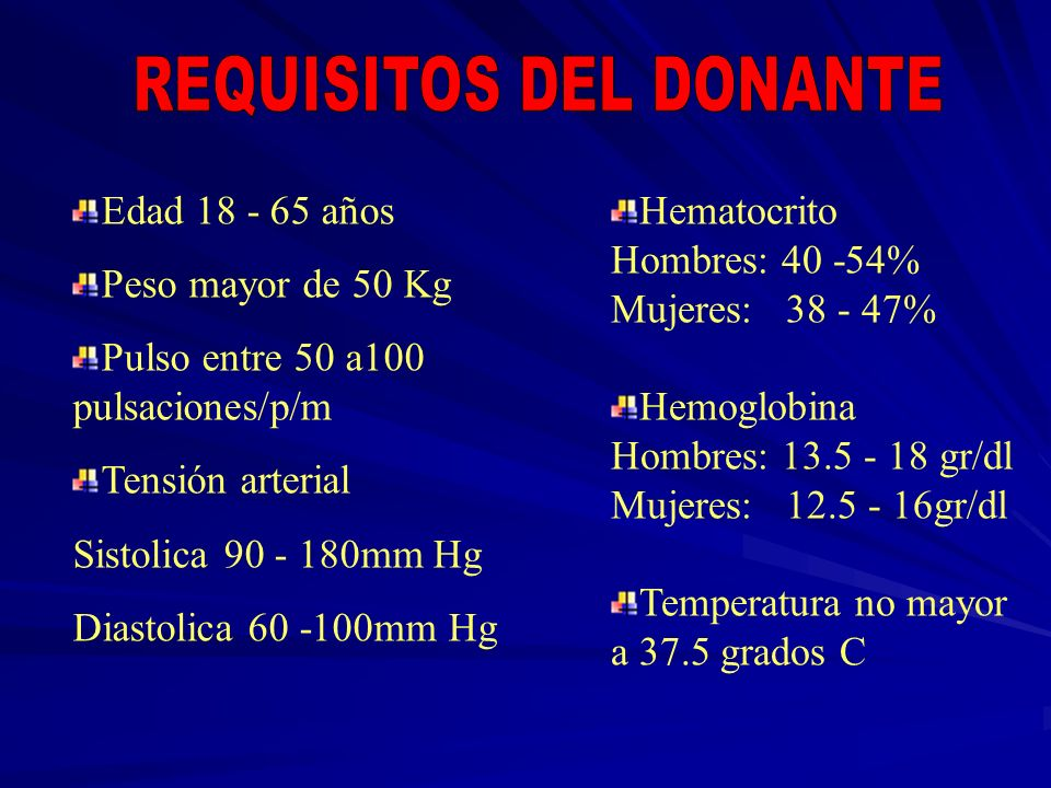 REQUISITOS DEL DONANTE