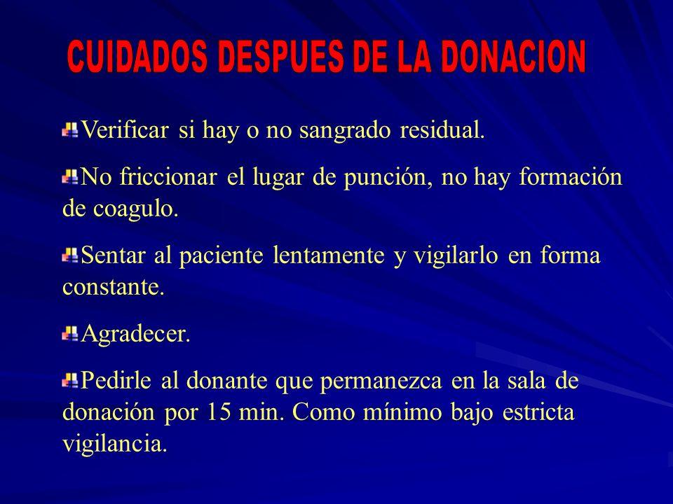 CUIDADOS DESPUES DE LA DONACION