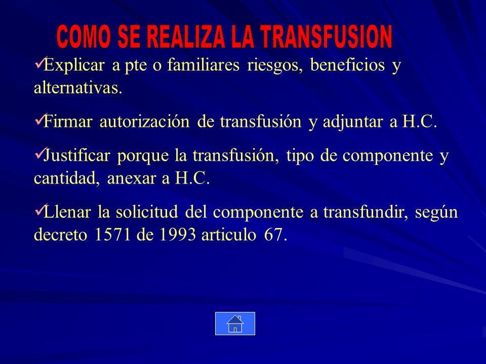 COMO SE REALIZA LA TRANSFUSION