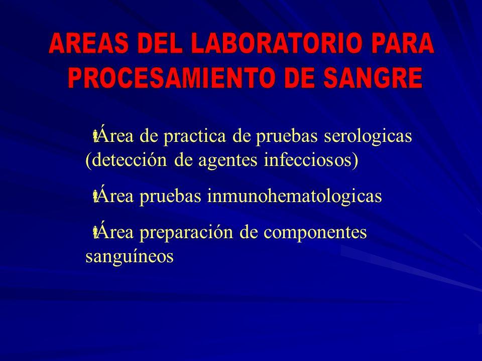 AREAS DEL LABORATORIO PARA PROCESAMIENTO DE SANGRE