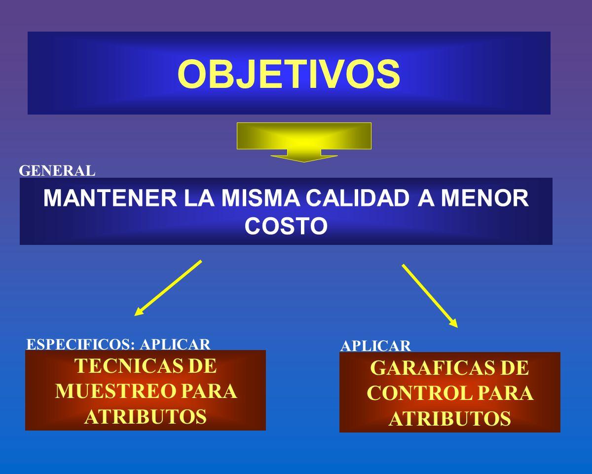 OBJETIVOS MANTENER LA MISMA CALIDAD A MENOR COSTO