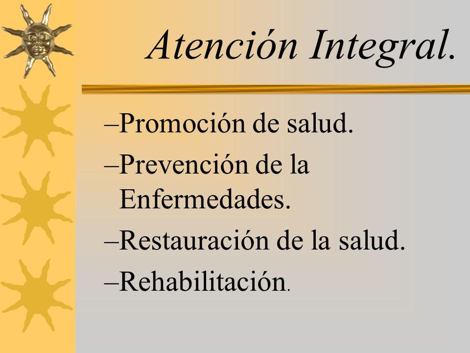 Atención Integral. Promoción de salud. Prevención de la Enfermedades.