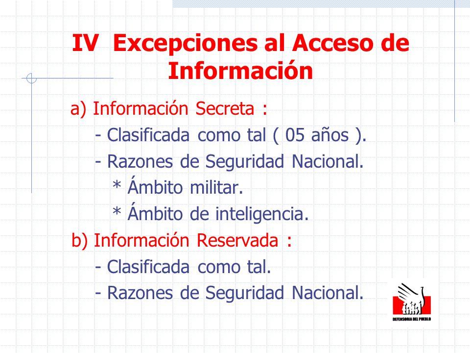 IV Excepciones al Acceso de Información