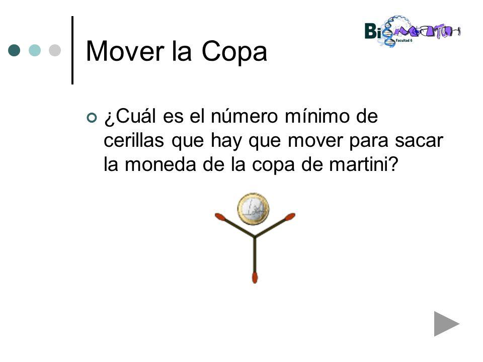 Mover la Copa ¿Cuál es el número mínimo de cerillas que hay que mover para sacar la moneda de la copa de martini