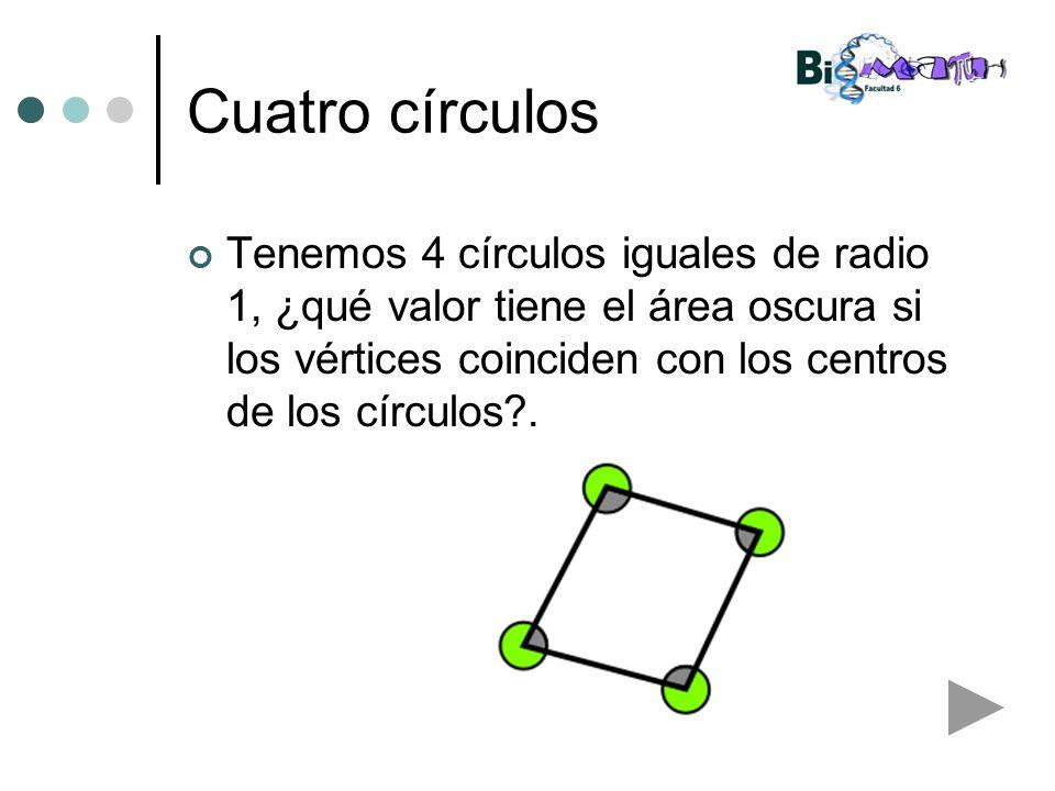 Cuatro círculos Tenemos 4 círculos iguales de radio 1, ¿qué valor tiene el área oscura si los vértices coinciden con los centros de los círculos .