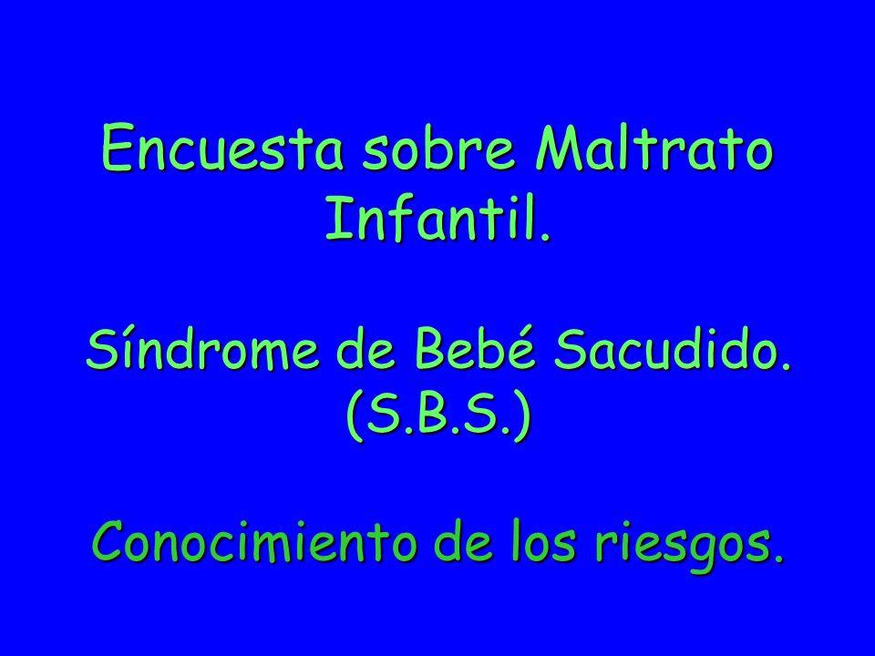 Encuesta sobre Maltrato Infantil. Síndrome de Bebé Sacudido. (S. B. S