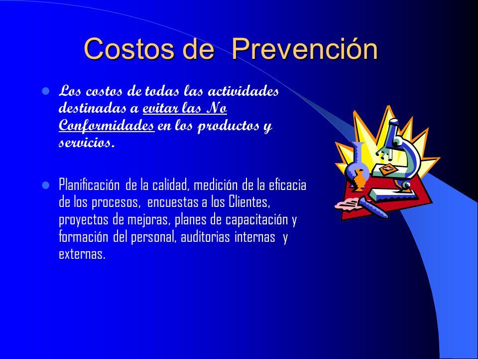Costos de Prevención Los costos de todas las actividades destinadas a evitar las No Conformidades en los productos y servicios.