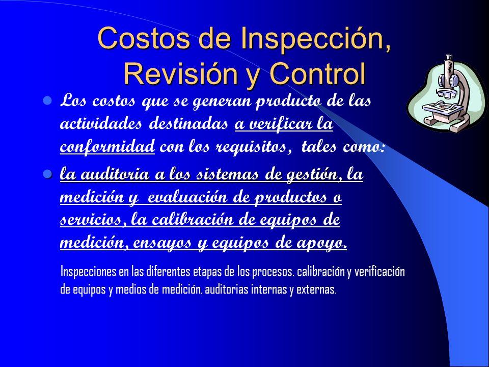 Costos de Inspección, Revisión y Control