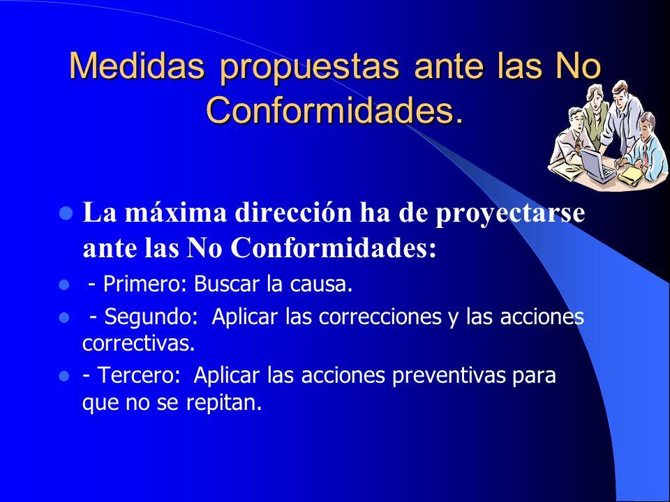 Medidas propuestas ante las No Conformidades.