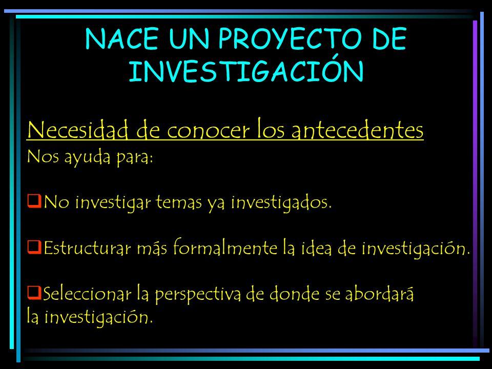 NACE UN PROYECTO DE INVESTIGACIÓN