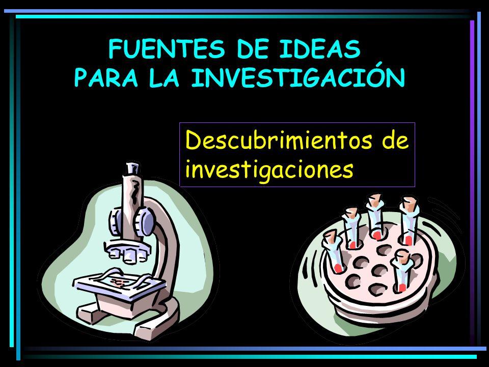 FUENTES DE IDEAS PARA LA INVESTIGACIÓN Descubrimientos de investigaciones