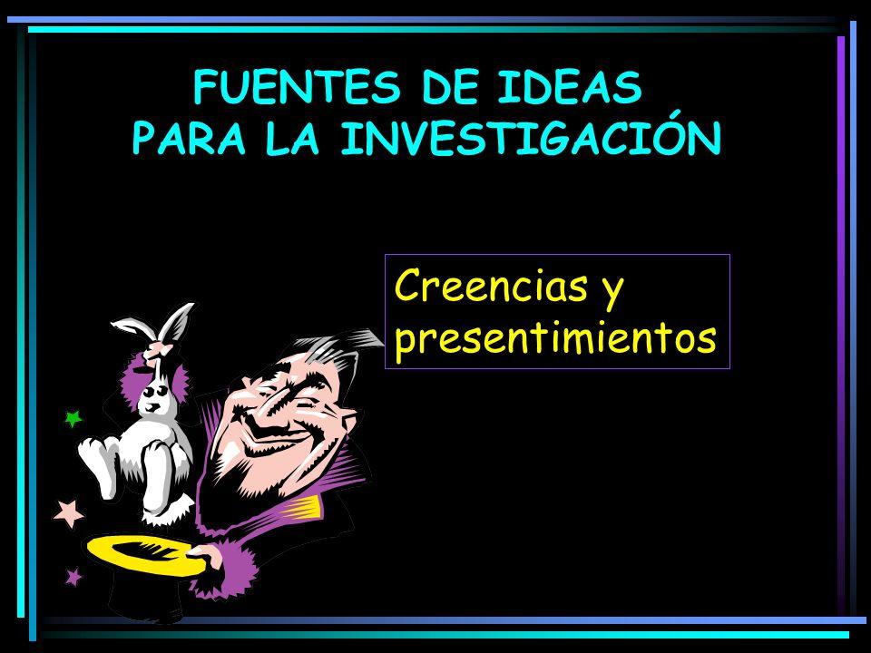 FUENTES DE IDEAS PARA LA INVESTIGACIÓN Creencias y presentimientos