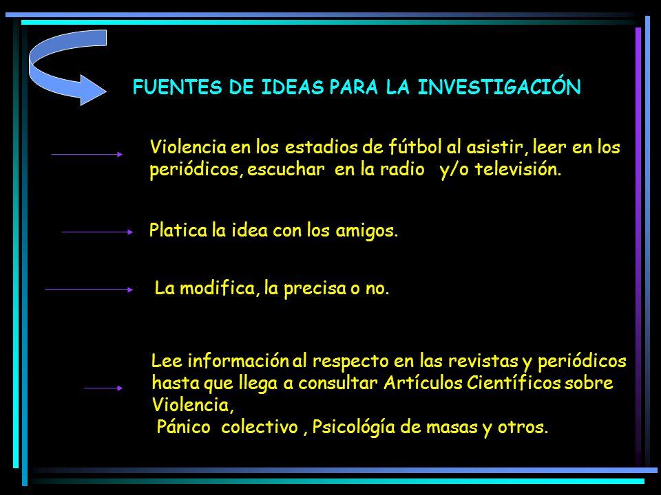 FUENTES DE IDEAS PARA LA INVESTIGACIÓN