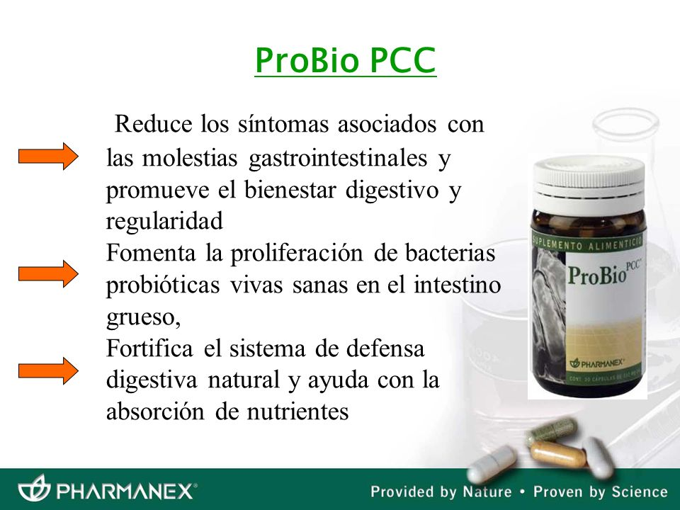 ProBio PCC Reduce los síntomas asociados con las molestias gastrointestinales y promueve el bienestar digestivo y regularidad.