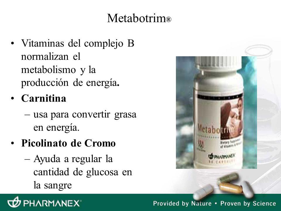 Metabotrim®Vitaminas del complejo B normalizan el metabolismo y la producción de energía. Carnitina.