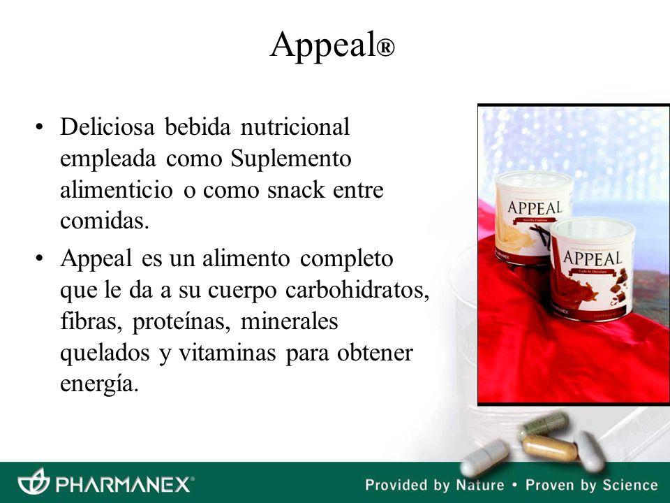 Appeal® Deliciosa bebida nutricional empleada como Suplemento alimenticio o como snack entre comidas.