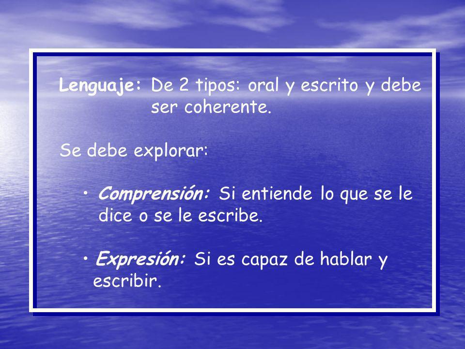 Lenguaje: De 2 tipos: oral y escrito y debe