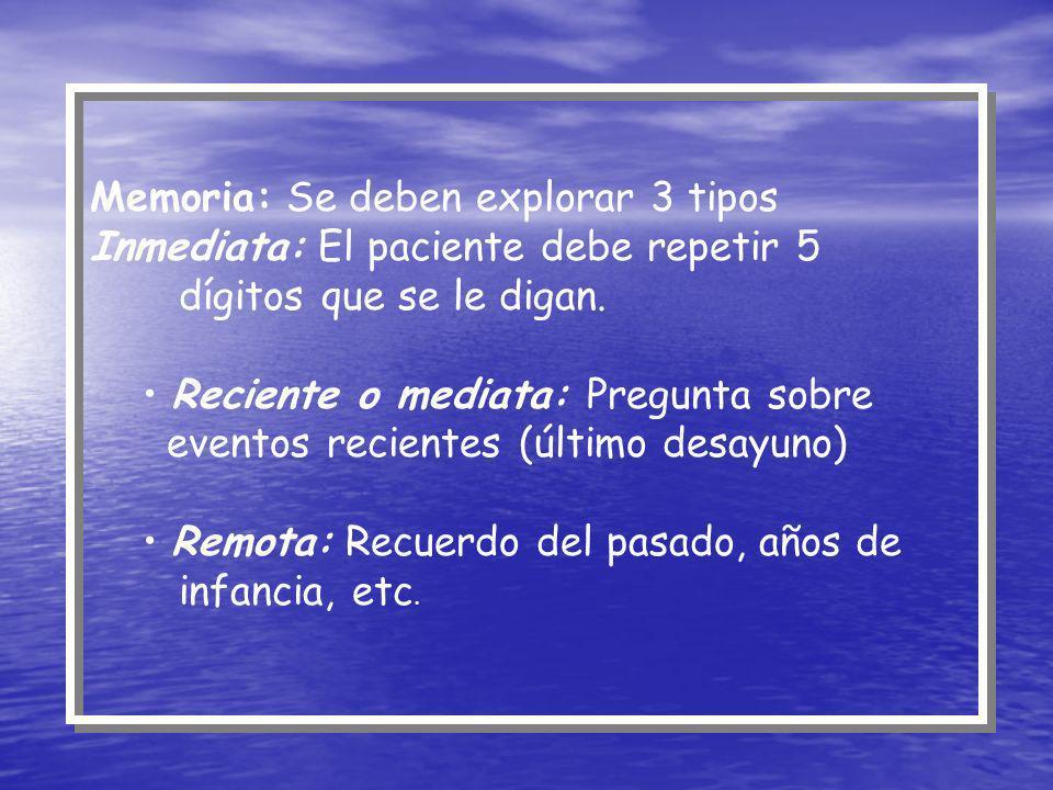 Memoria: Se deben explorar 3 tipos