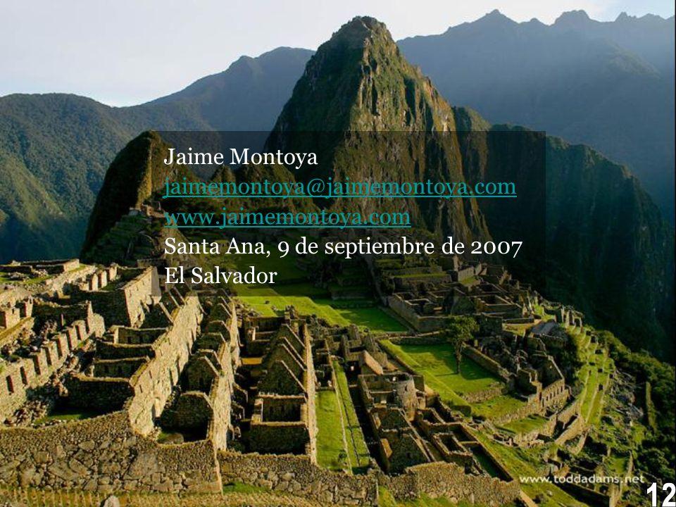 12 Jaime Montoya jaimemontoya@jaimemontoya.com www.jaimemontoya.com