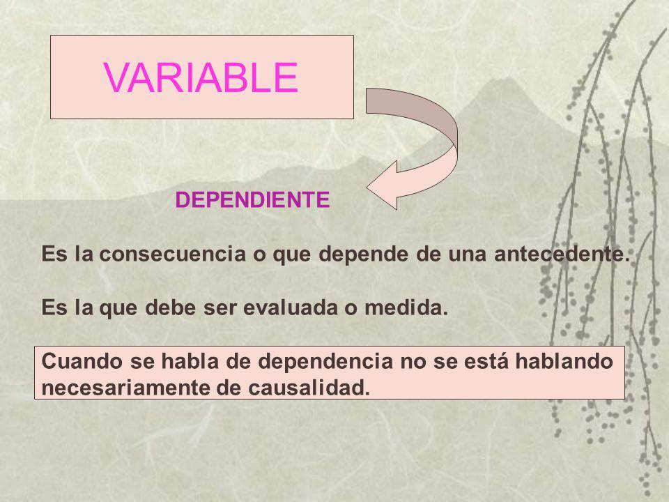 VARIABLE DEPENDIENTE. Es la consecuencia o que depende de una antecedente. Es la que debe ser evaluada o medida.