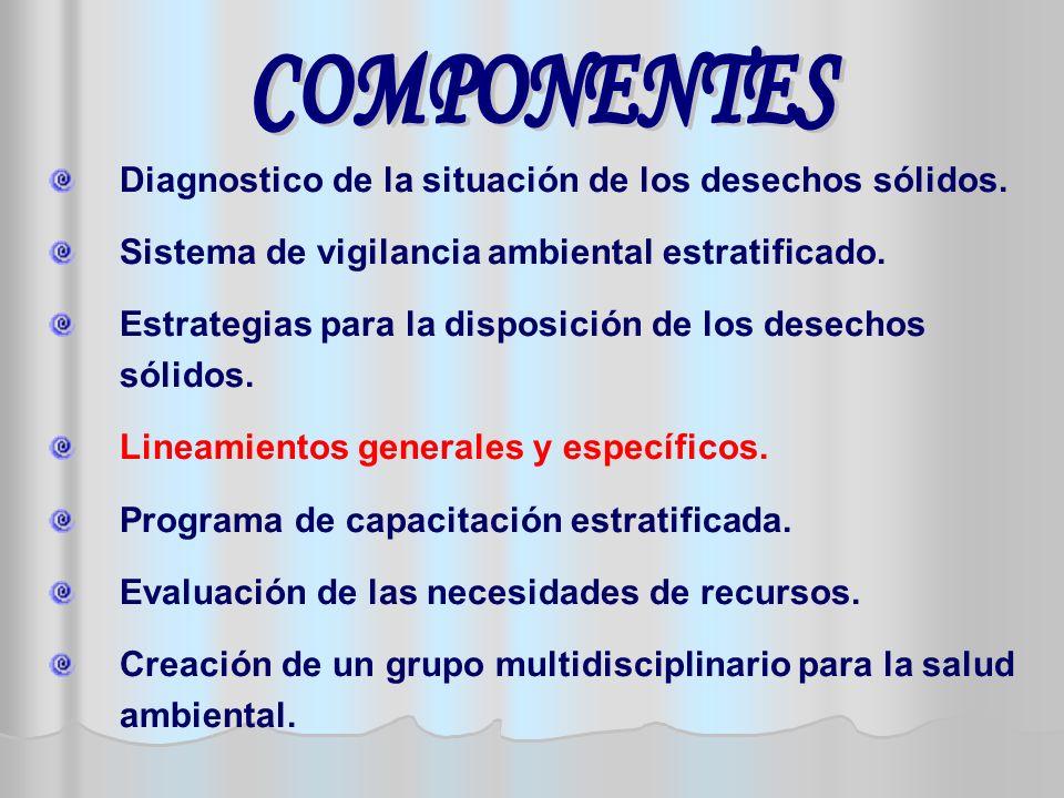 COMPONENTES Diagnostico de la situación de los desechos sólidos. Sistema de vigilancia ambiental estratificado.