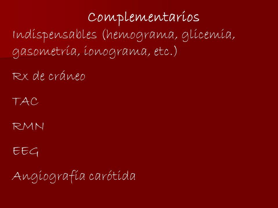 Complementarios Indispensables (hemograma, glicemia, gasometría, ionograma, etc.) Rx de cráneo. TAC.