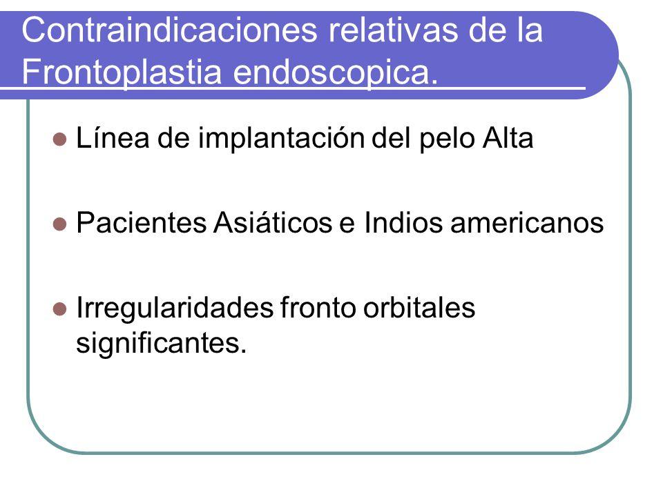 Contraindicaciones relativas de la Frontoplastia endoscopica.