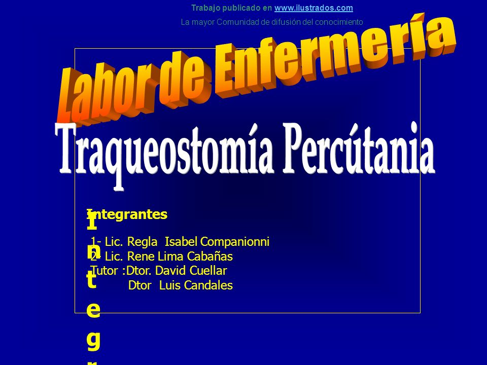 Trabajo publicado en www.ilustrados.com Traqueostomía Percútania