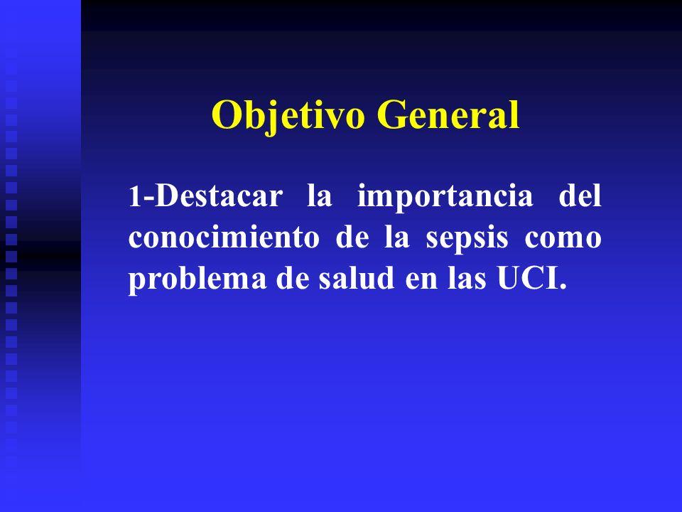 Objetivo General1-Destacar la importancia del conocimiento de la sepsis como problema de salud en las UCI.