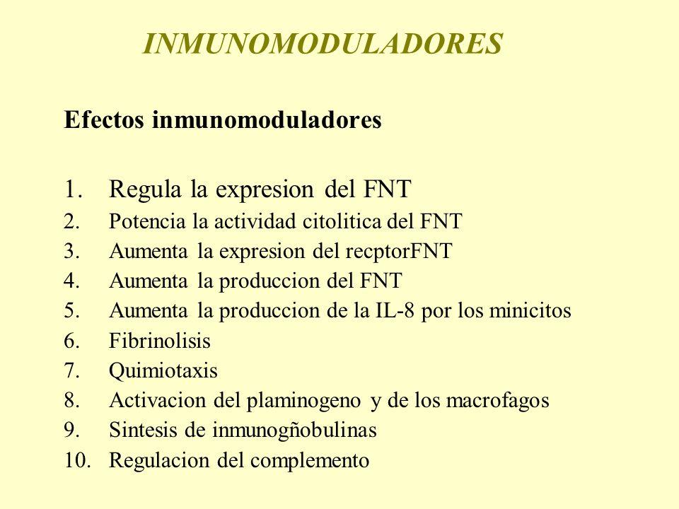 INMUNOMODULADORES Efectos inmunomoduladores