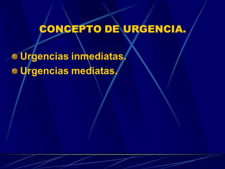 CONCEPTO DE URGENCIA. Urgencias inmediatas. Urgencias mediatas.
