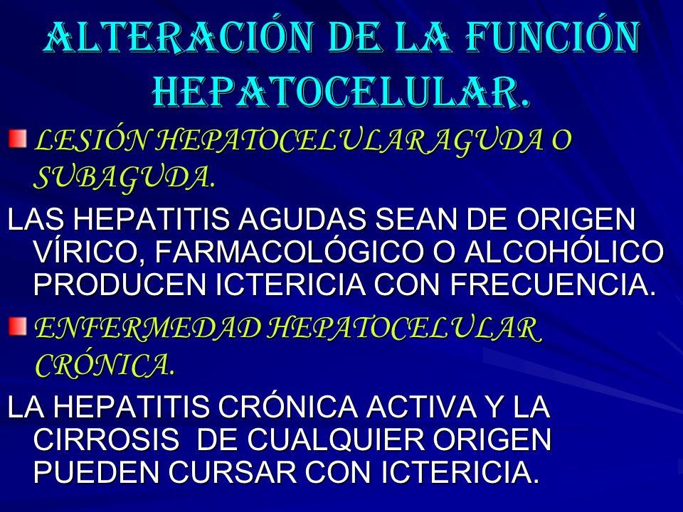 ALTERACIÓN DE LA FUNCIÓN HEPATOCELULAR.
