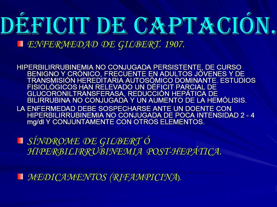 DÉFICIT DE CAPTACIÓN. ENFERMEDAD DE GILBERT. 1907.