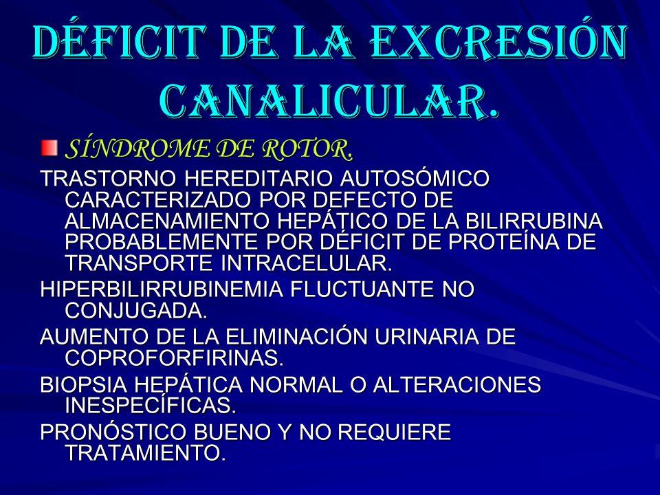 DÉFICIT DE LA EXCRESIÓN CANALICULAR.
