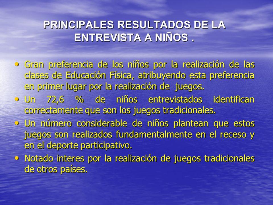 PRINCIPALES RESULTADOS DE LA ENTREVISTA A NIÑOS .