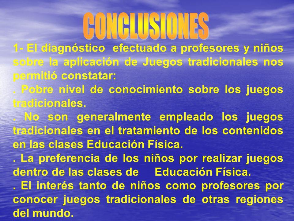 CONCLUSIONES 1- El diagnóstico efectuado a profesores y niños sobre la aplicación de Juegos tradicionales nos permitió constatar: