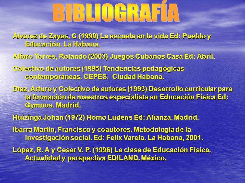 BIBLIOGRAFÍA Álvarez de Zayas, C (1999) La escuela en la vida Ed: Pueblo y Educación. La Habana.
