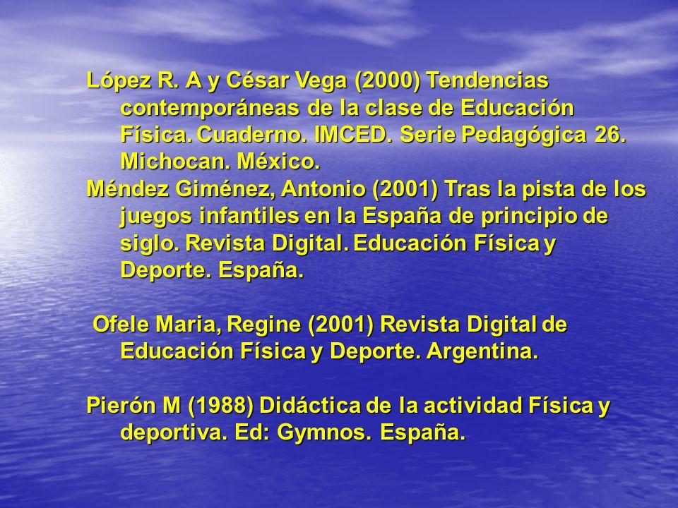 López R. A y César Vega (2000) Tendencias contemporáneas de la clase de Educación Física. Cuaderno. IMCED. Serie Pedagógica 26. Michocan. México.