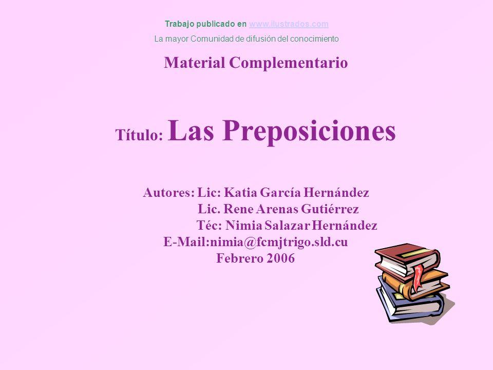 Material Complementario Título: Las Preposiciones