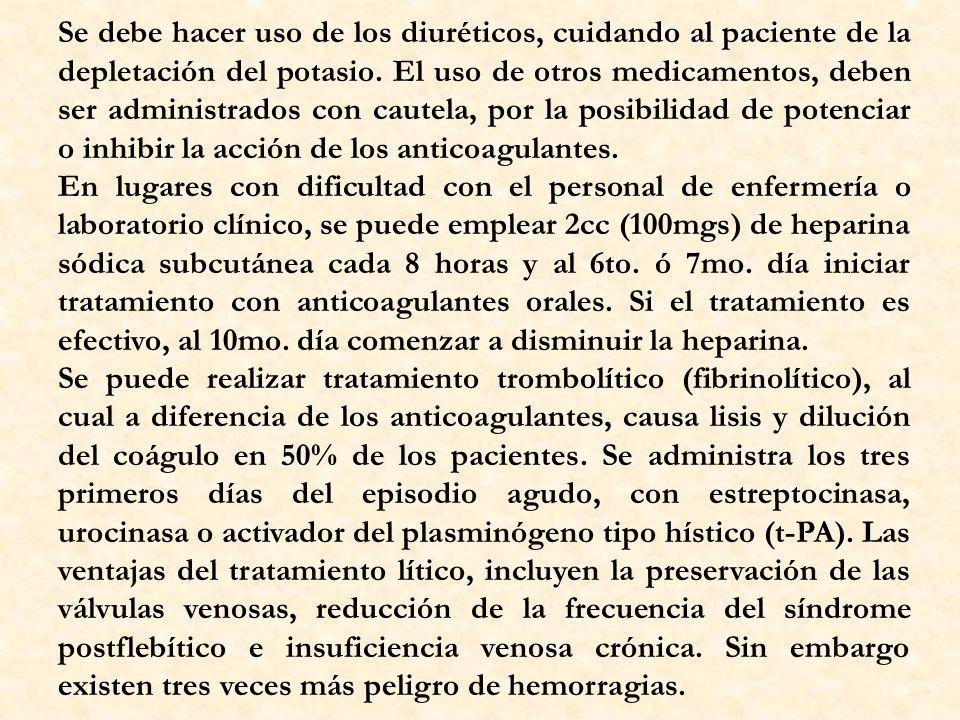 Se debe hacer uso de los diuréticos, cuidando al paciente de la depletación del potasio. El uso de otros medicamentos, deben ser administrados con cautela, por la posibilidad de potenciar o inhibir la acción de los anticoagulantes.