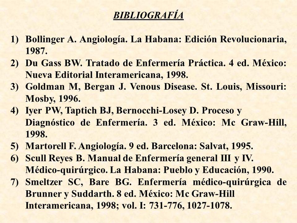 BIBLIOGRAFÍA 1) Bollinger A. Angiología. La Habana: Edición Revolucionaria, 1987.
