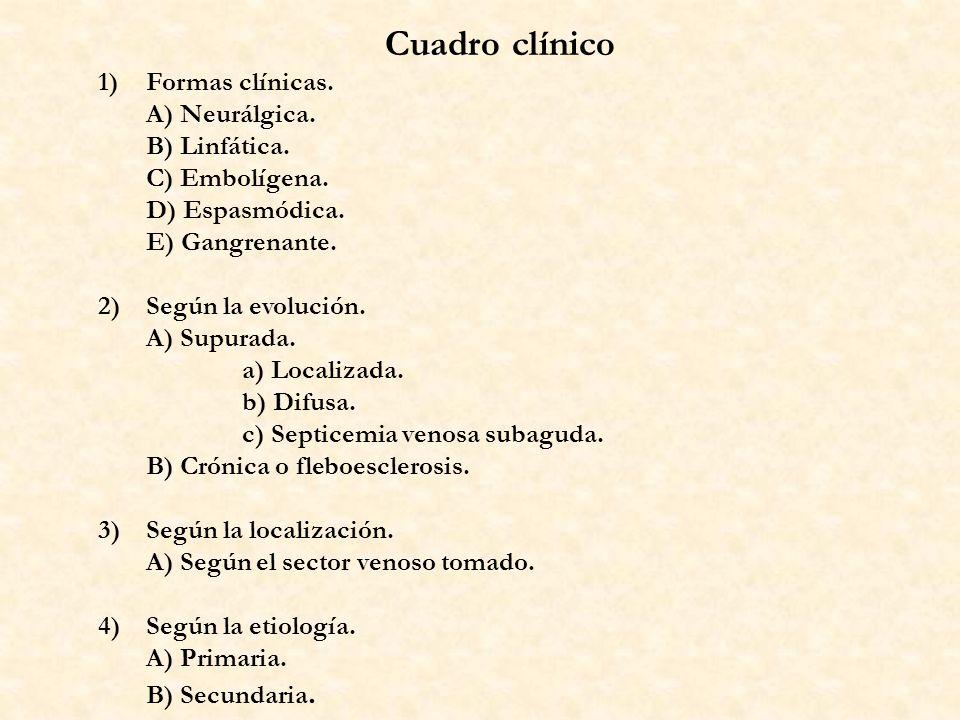 Cuadro clínico 1) Formas clínicas. A) Neurálgica. B) Linfática.