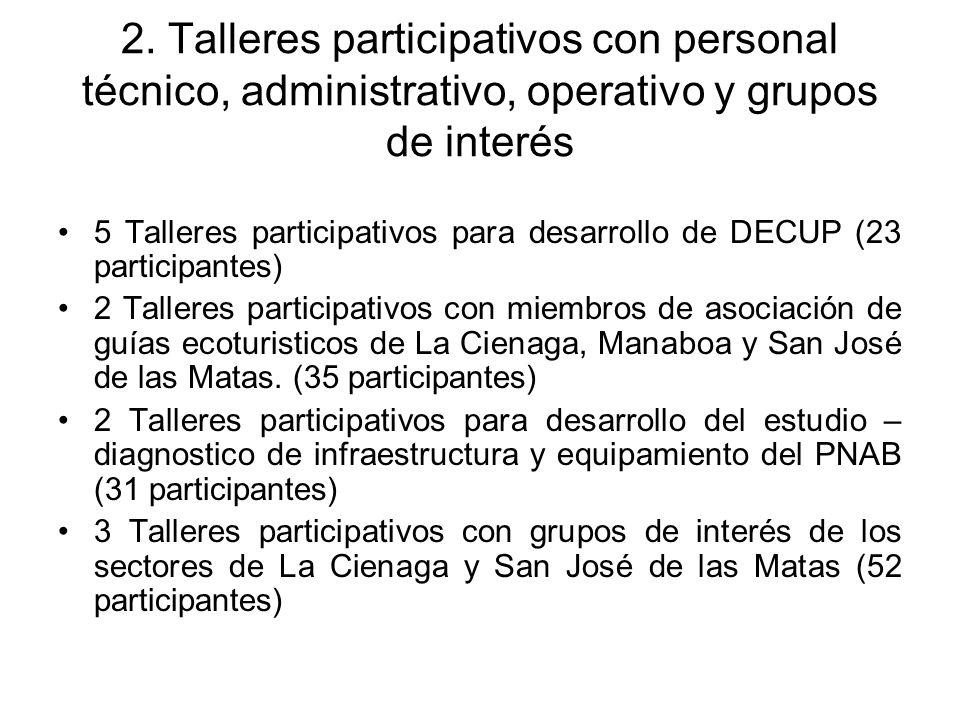 2. Talleres participativos con personal técnico, administrativo, operativo y grupos de interés
