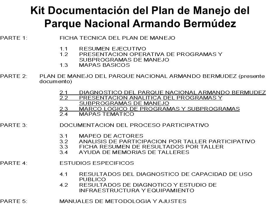 Kit Documentación del Plan de Manejo del Parque Nacional Armando Bermúdez