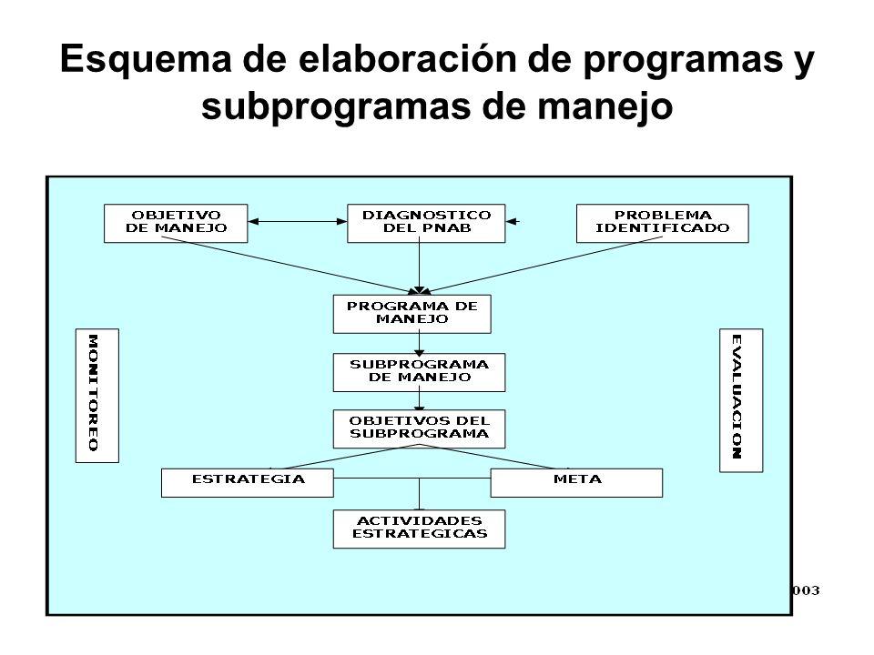 Esquema de elaboración de programas y subprogramas de manejo