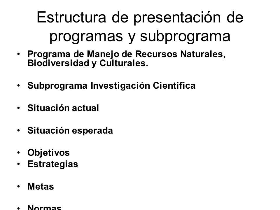 Estructura de presentación de programas y subprograma