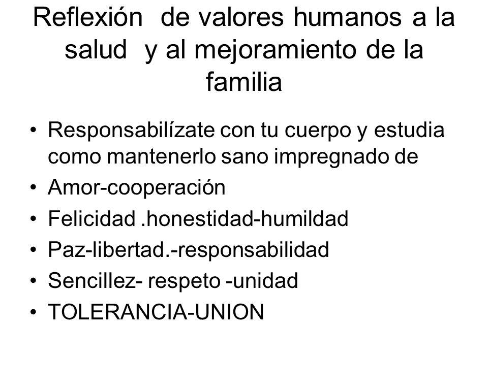 Reflexión de valores humanos a la salud y al mejoramiento de la familia