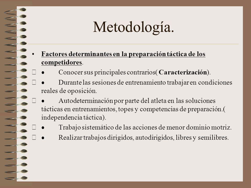 Metodología. Factores determinantes en la preparación táctica de los competidores. · Conocer sus principales contrarios( Caracterización).